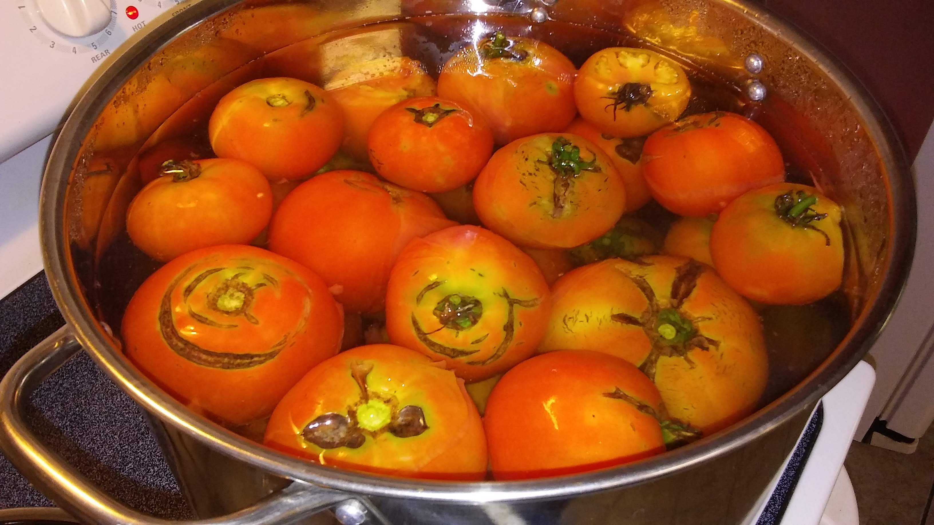 Drop Tomatoes into boiling water