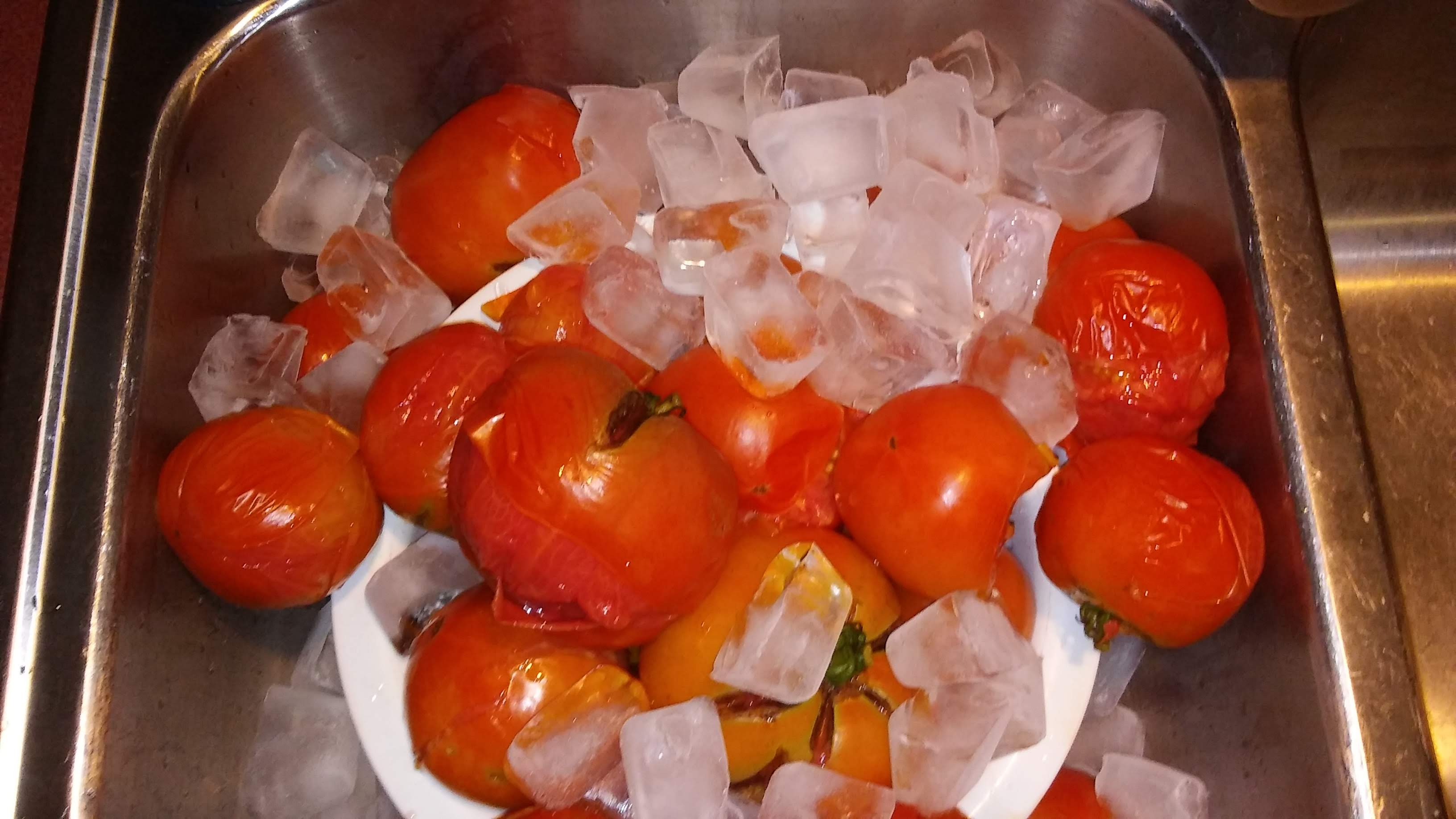 Pour Tomatoes into a colander and dump ice onto them