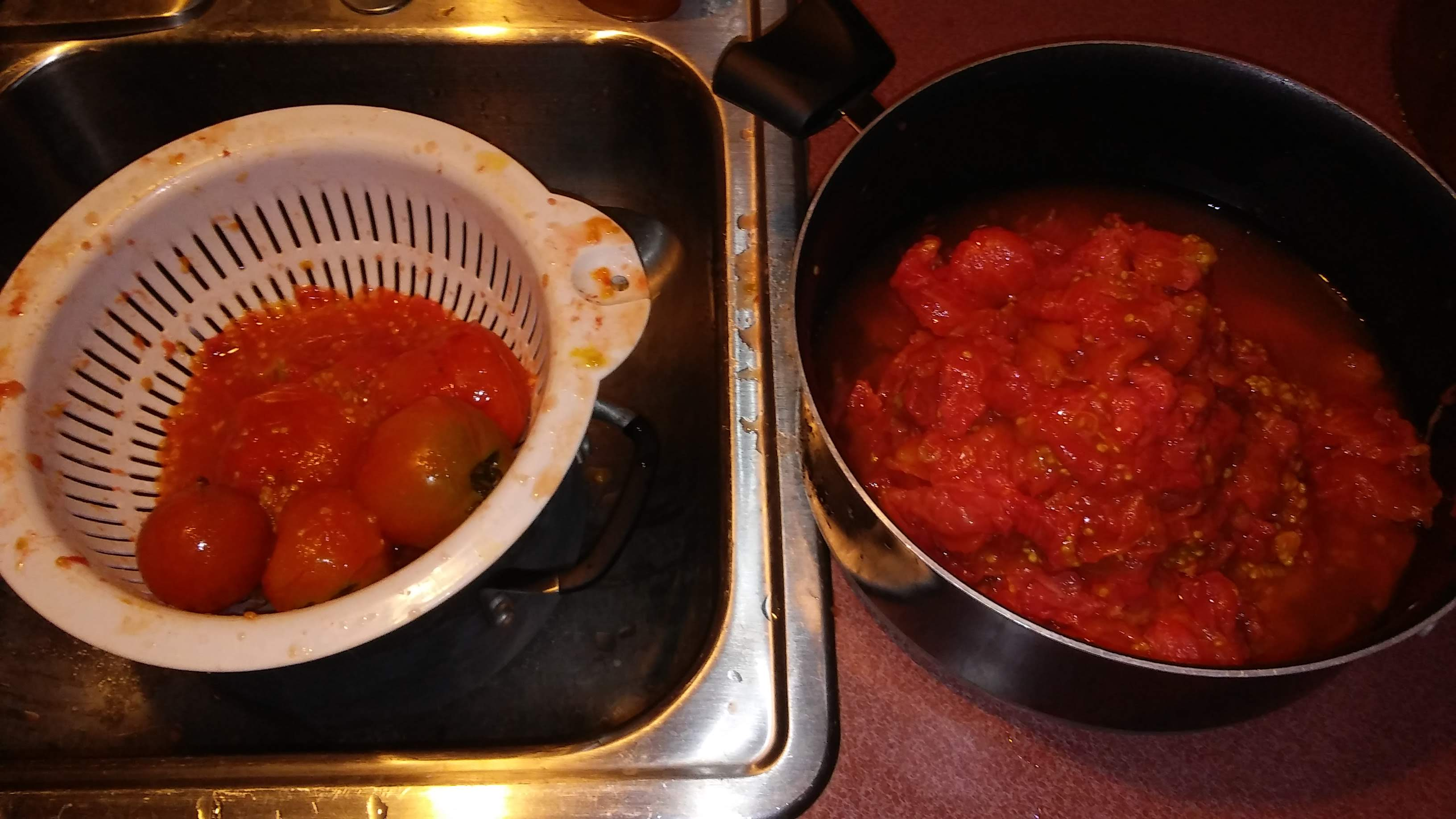 Remove skins and cores from the tomatoes and place in pot